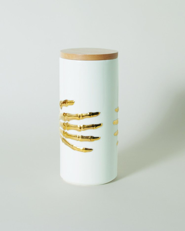 The Oracles Skeleton Hands Ceramic Canister