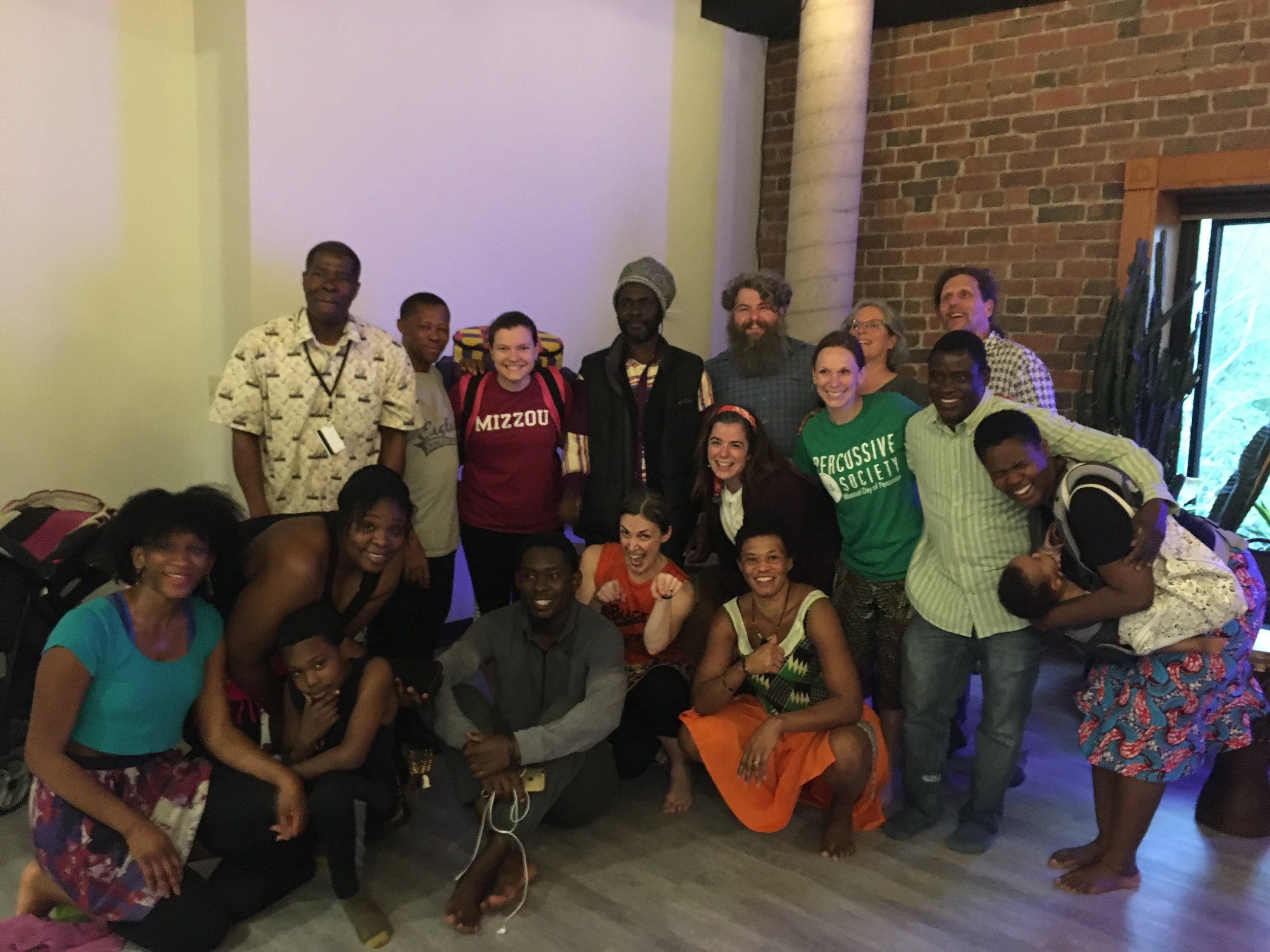 University of Missouri Percussion students and community members with Saakumu Dance Troupe.