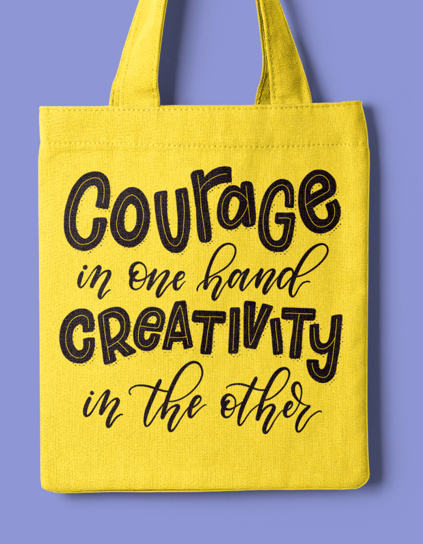 Courage in one hand tote bag mockup
