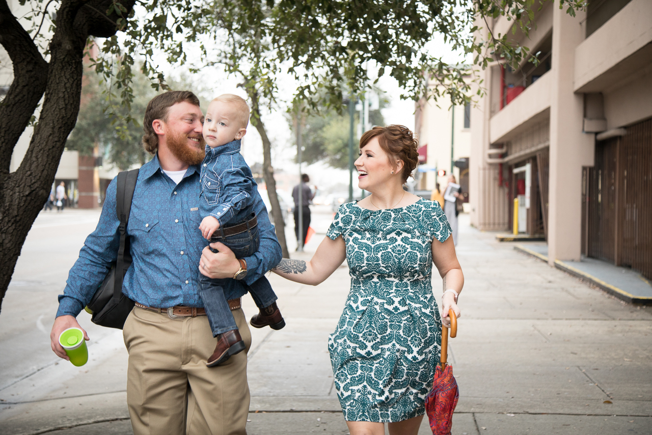 Houston adoption day photography family walking to courthouse