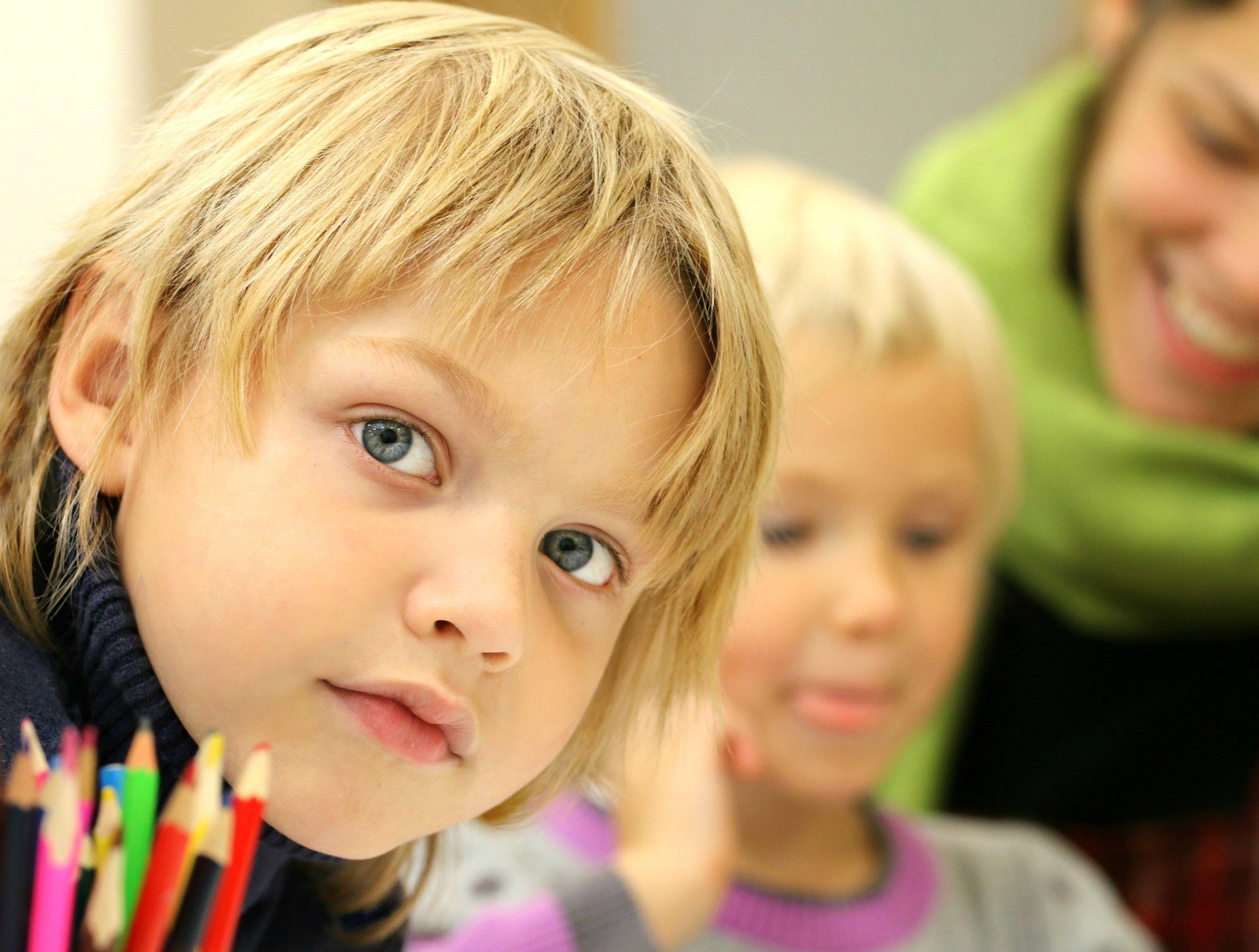 Child at school boy looking at camera