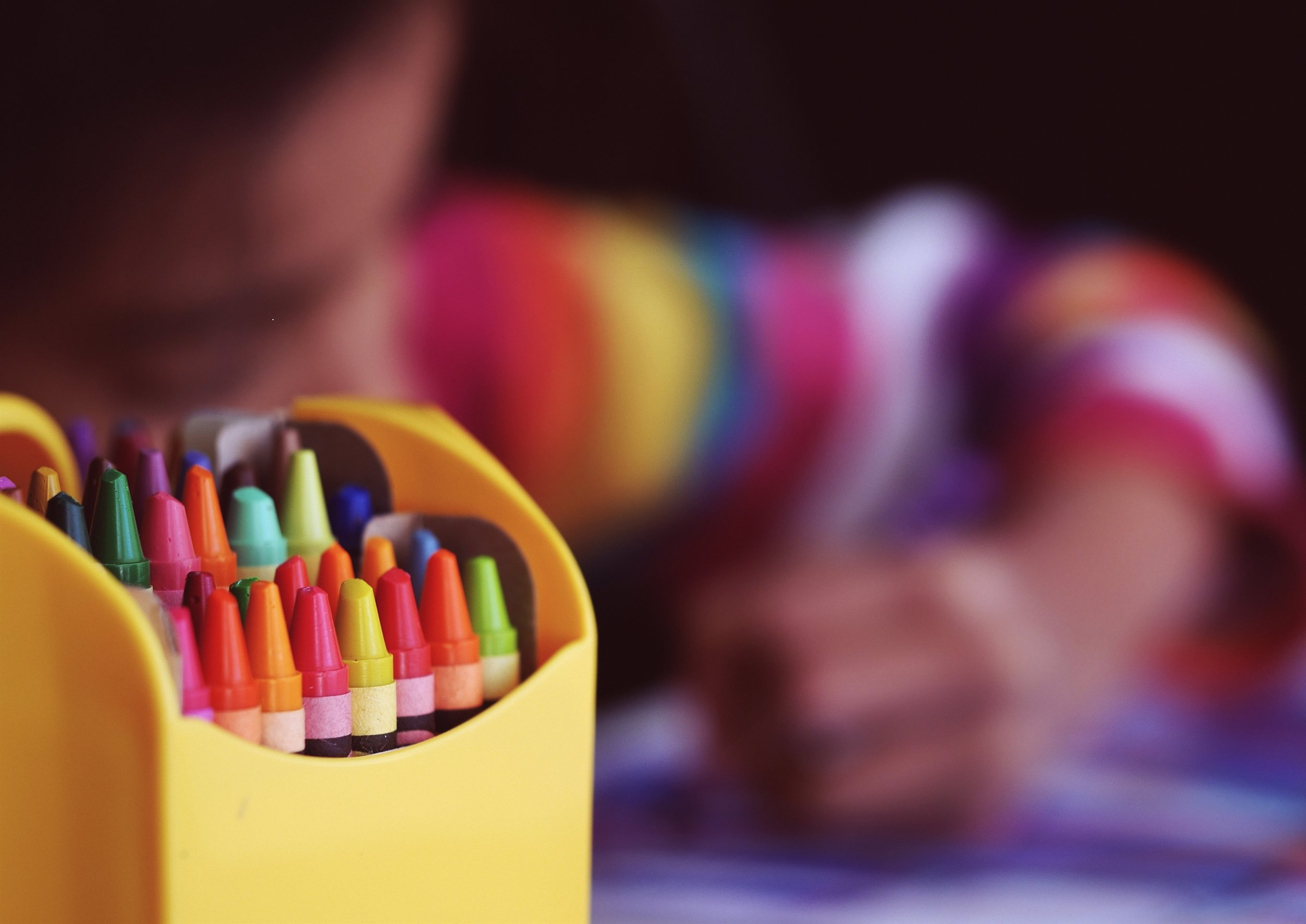 Child at school with crayons