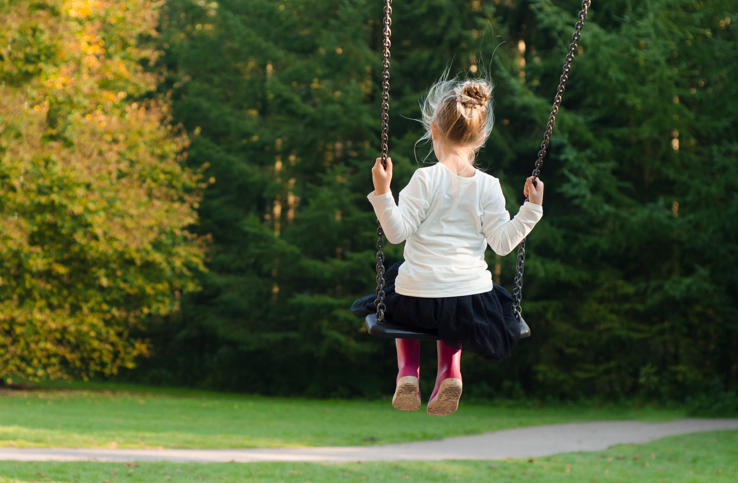 Girl child alone on swing