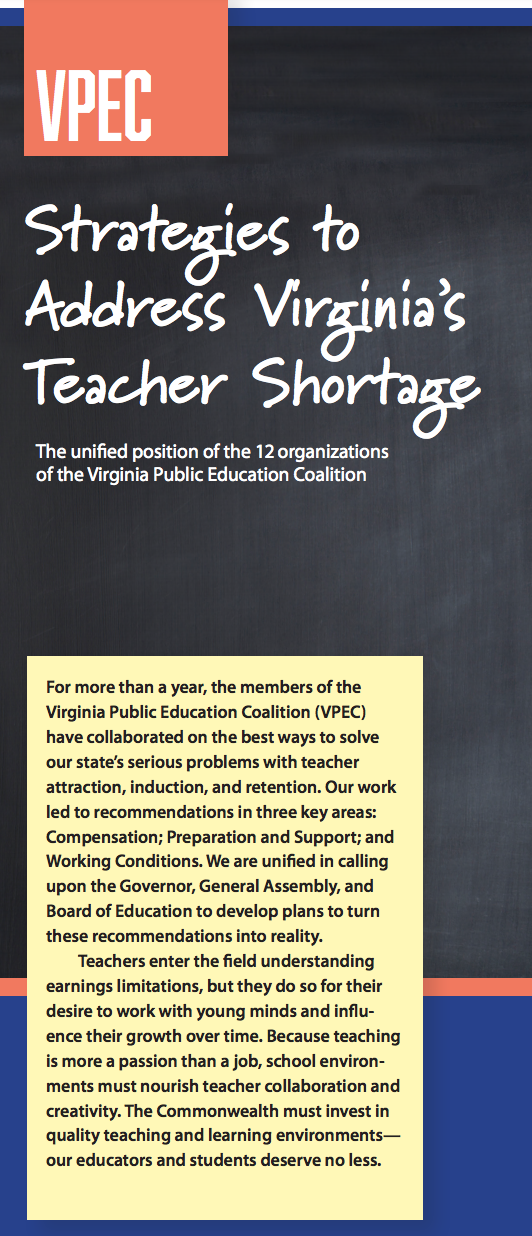 ATE-VA is proud to support the work of The Virginia Public Education Coalition. - Learn more about VPEC's strategies to address Virginia's teacher shortage here.