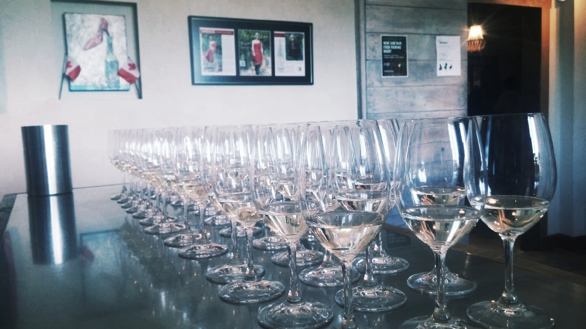 Forty wine glasses sitting pretty, ready with The View's White BLING on Canada Day ;)