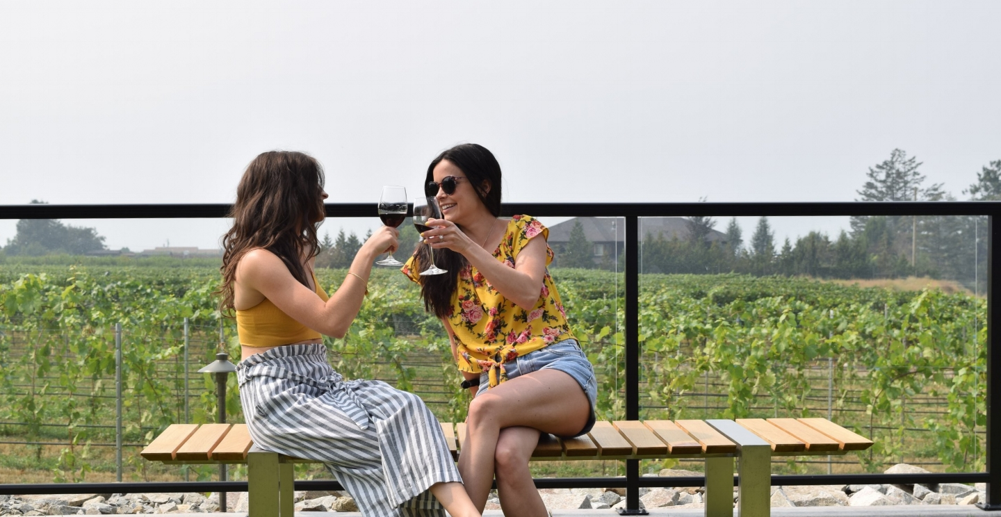 Two sisters caught enjoying a glass at The Garden Bistro of The Chase.