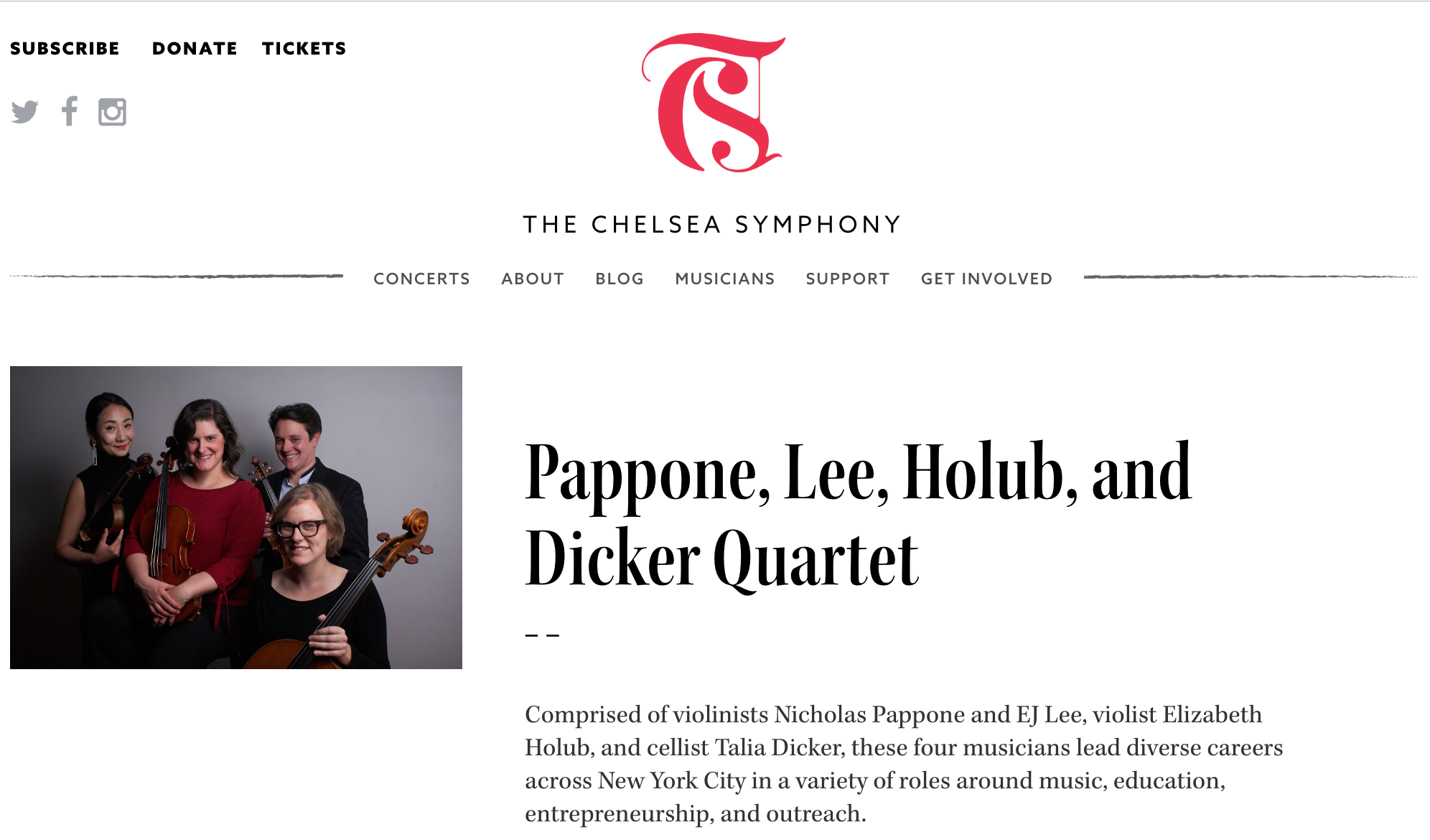 Promotional photos taken for The Chelsea Symphony's 2018 holiday concert.