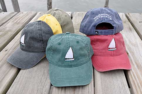 Hats - Hats come in a variety of 100% cotton pigment dyed colors, have a velcro closure and are embroidered front and back. Colors include navy, cape red, green, charcoal, sand and mustard yellow. One size fits all.$20.0012/12: Currently no yellow.