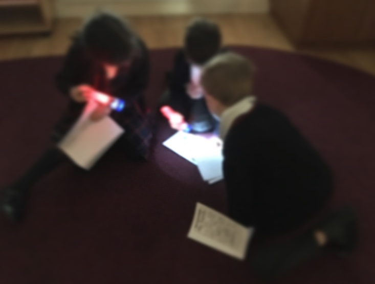 Reading with flashlights