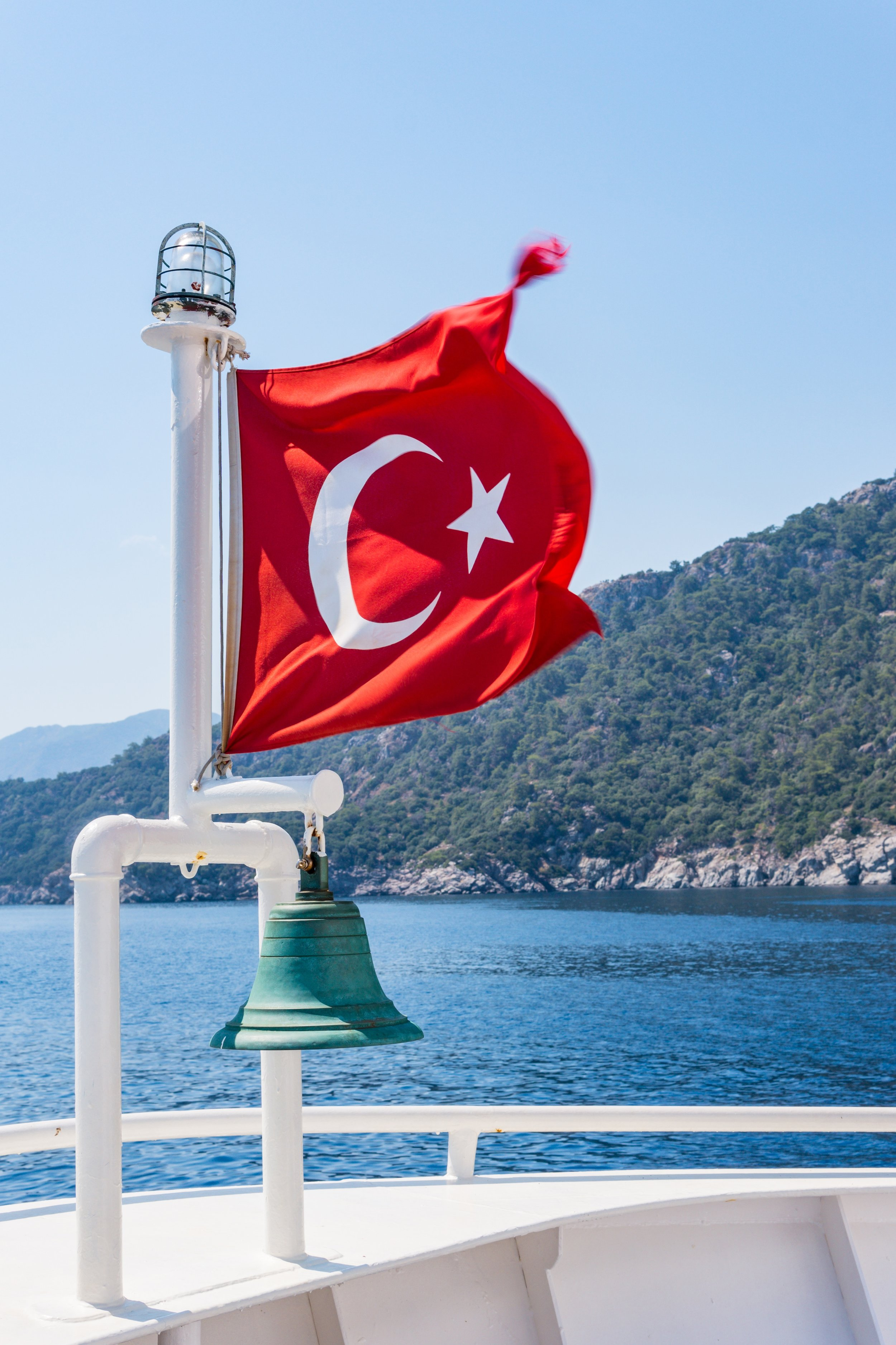Turkish national flag waving in the wind by Istanbul, Turkey on the Bosphorus.