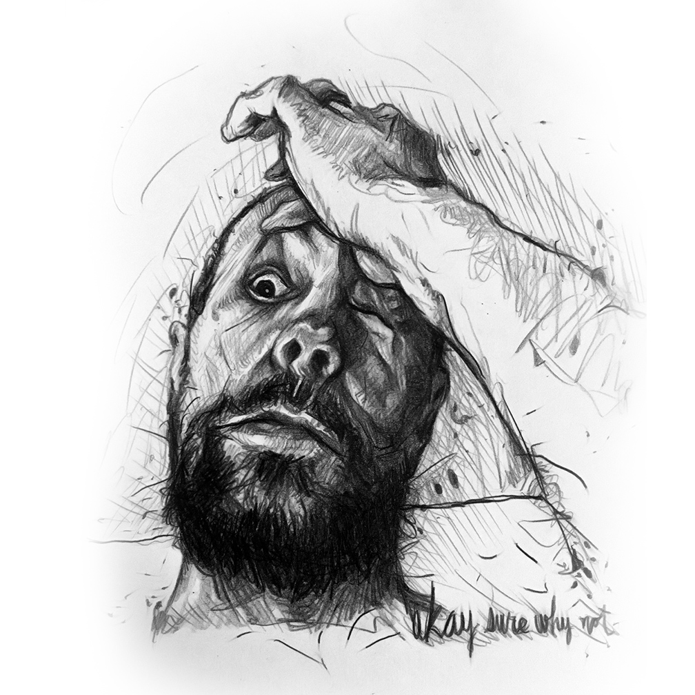 OK, SURE, WHY NOT? - I think this is from 2016 or so, one of my first of many, many weird selfie sketches. I'm much better at getting my own resemblance than that of others.