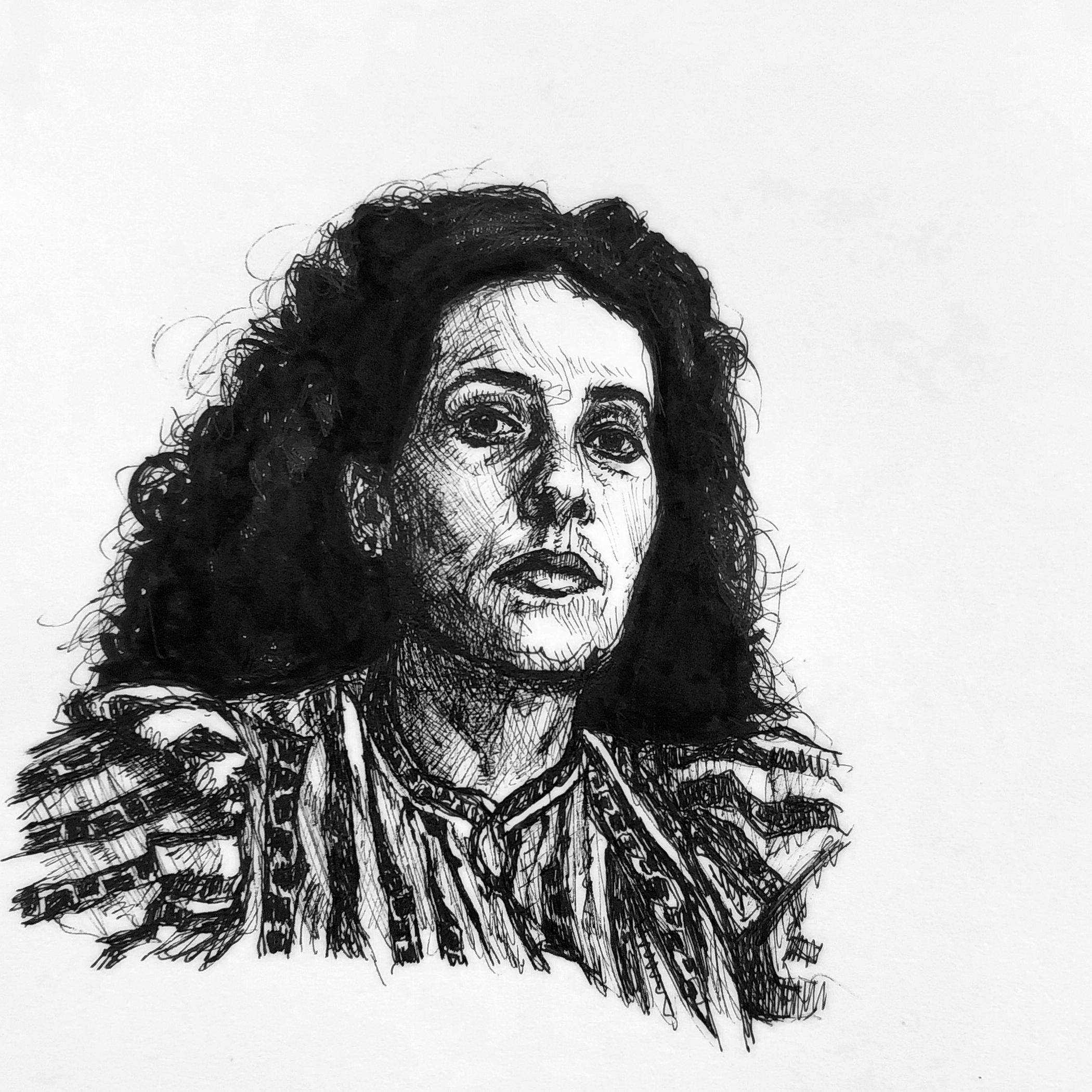leonora carrington - A crude pen sketch of the marvelous Leonora Carrington (1917-2011), a surrealist writer and painter whom I deeply admire.