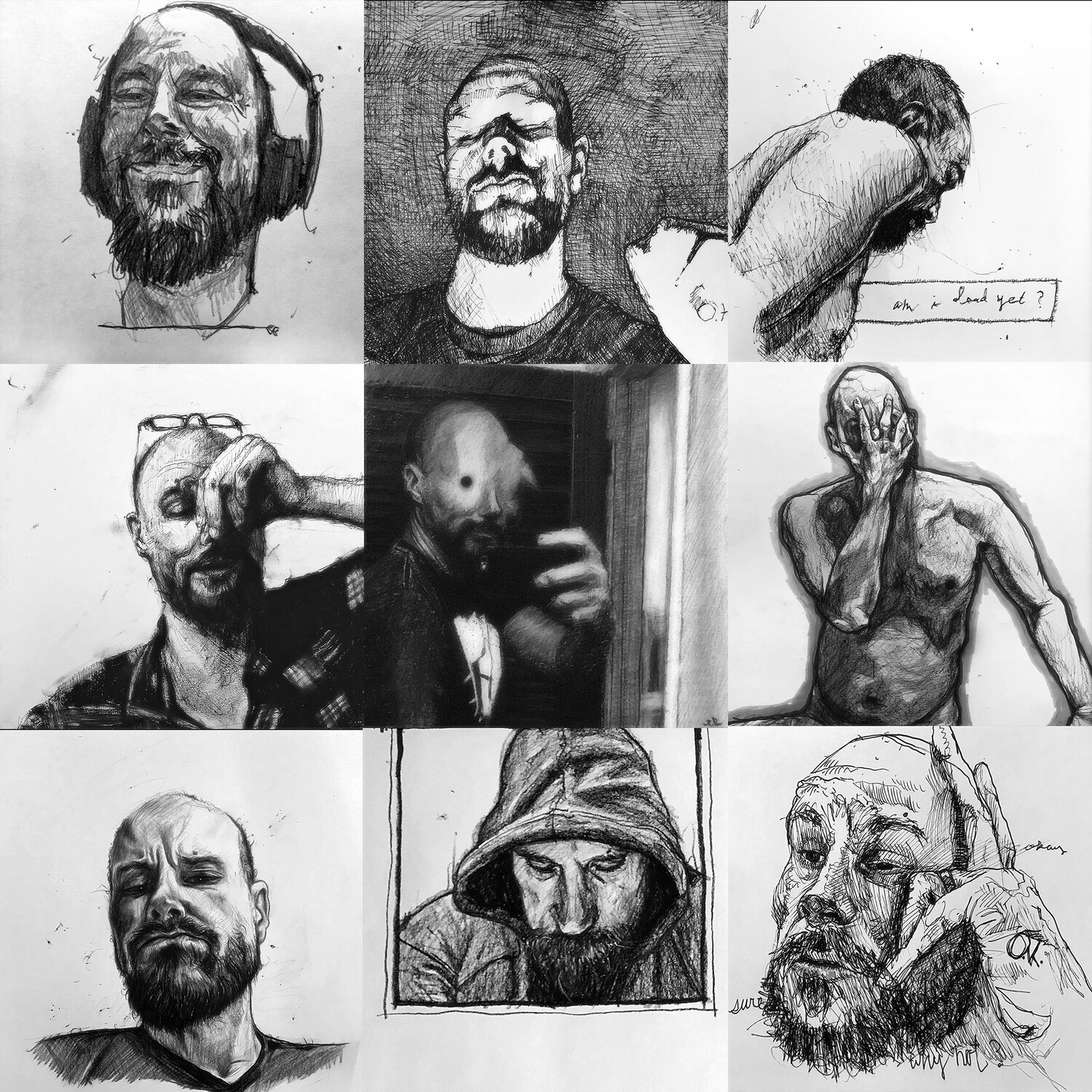 misc. selfies - I sketch myself a lot, because what kind of artist would I be if I weren't also a massive narcissist? Honestly though, I consider myself a hideously unattractive person, and whatever limited interest I have in portraiture is certainly not rooted in flattery of any kind. I tend to hate art that depicts pretty people doing pretty-people things. I admire the portraiture of expressionists like Schiele and Freud and Dix. Studying myself is sort of like studying some kind of grotesque hobgoblin, a bizarre swell of whiskering, oily flesh, sagging muscles, and awkward features.