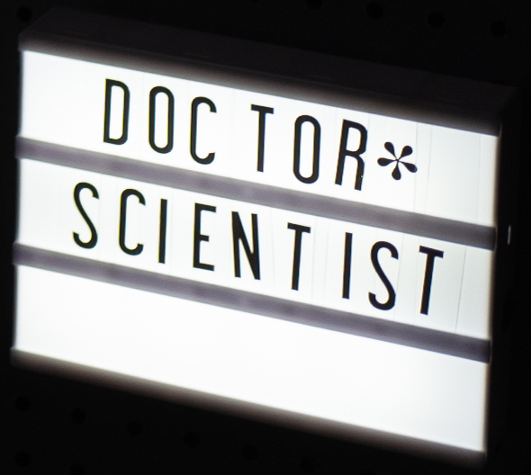 """Lightbox containing the words """"Doctor"""" and """"Scientist"""""""