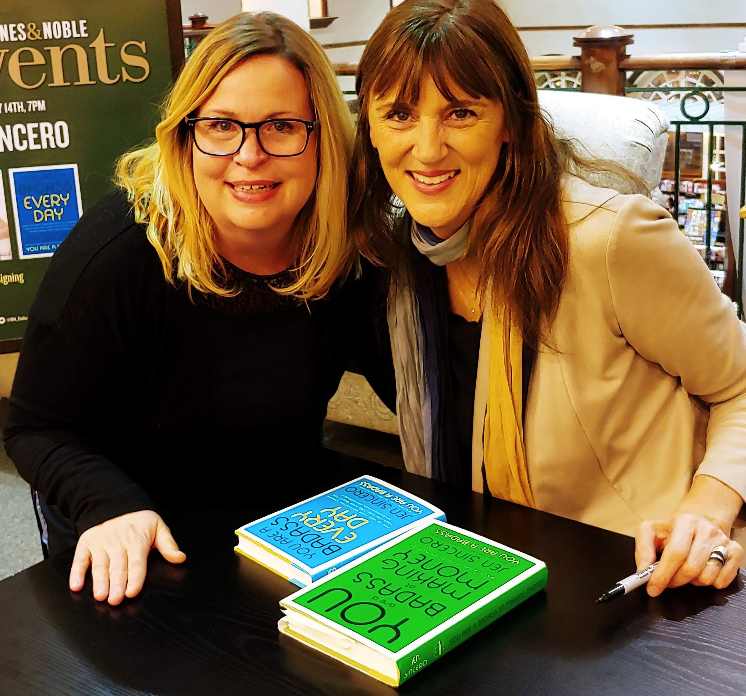 Jen Sincero and a teary-eyed me at a book signing in January 2019, nearly a year after I'd first read her books.