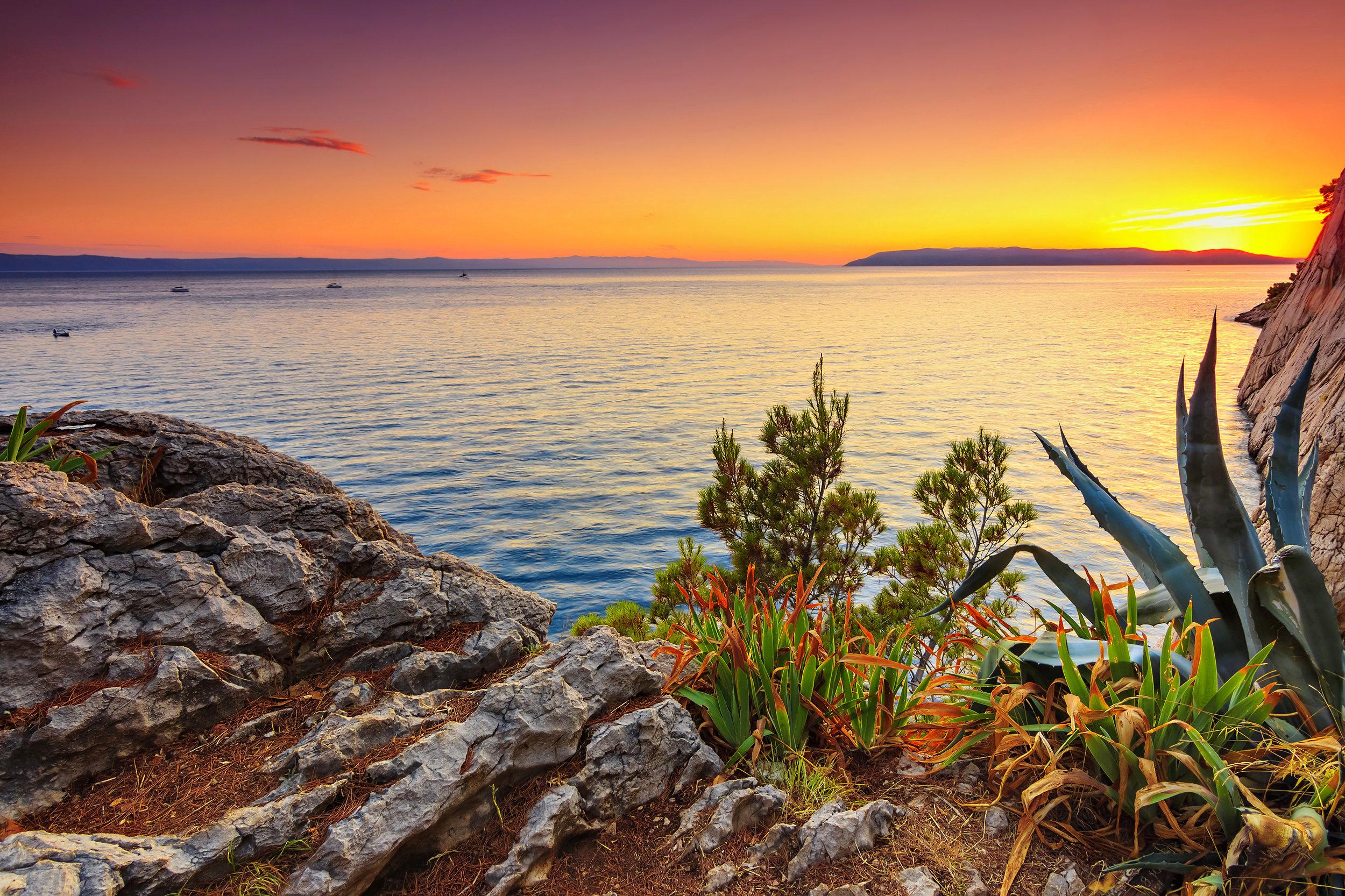 Amazing sunset on a sea,Makarska,Dalamatia,Croatia