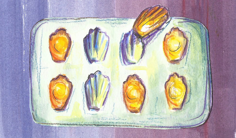 Drawing of madeleines in their baking tray. Source: www.longreads.com