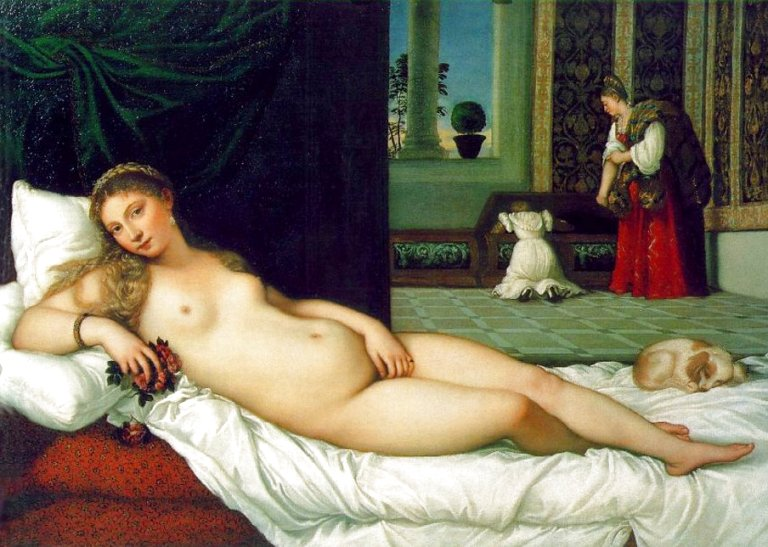 The Venus of Urbino  - Titian: 1534-1538. Don't mind me. I'm just beauty and love incarnate.