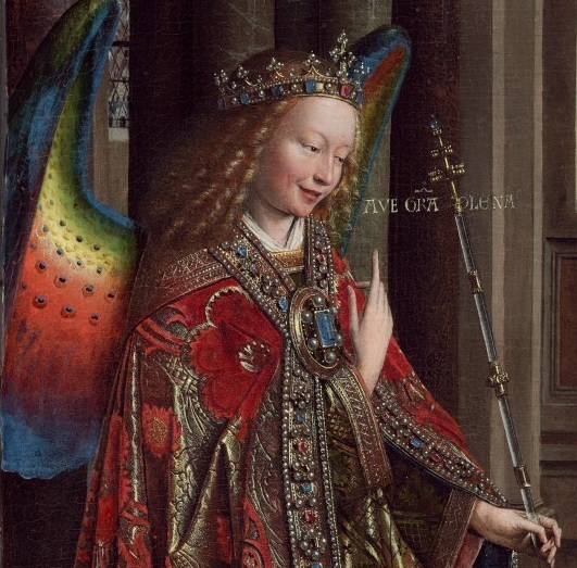 Jan van Eyck,  The Annunciation  (detail). 1434-1436. Archangel Gabriel being fly as hell. Also, I want those wings. Do you think they sell them at Party City?
