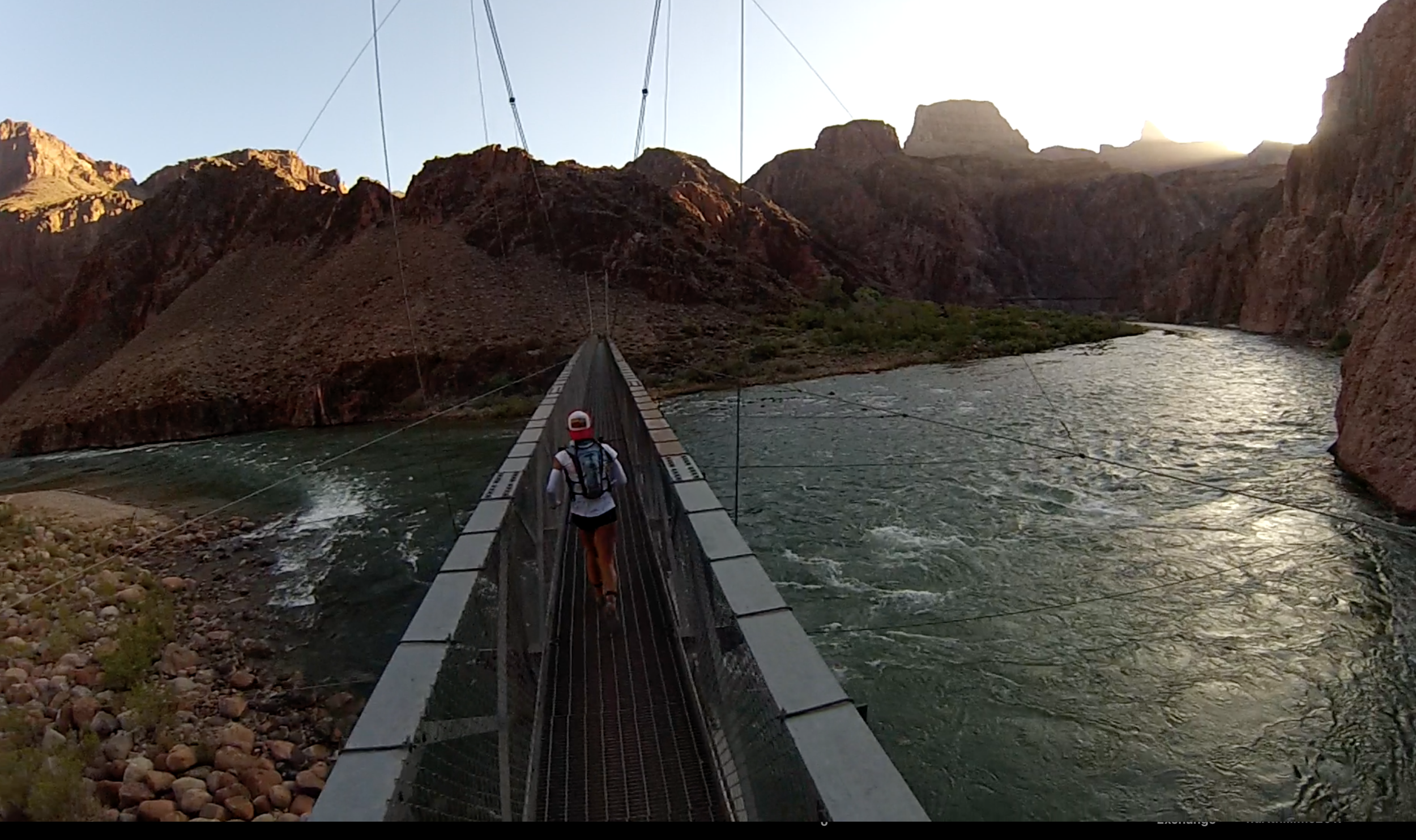 Crossing the Colorado river from Bright Angel trail.