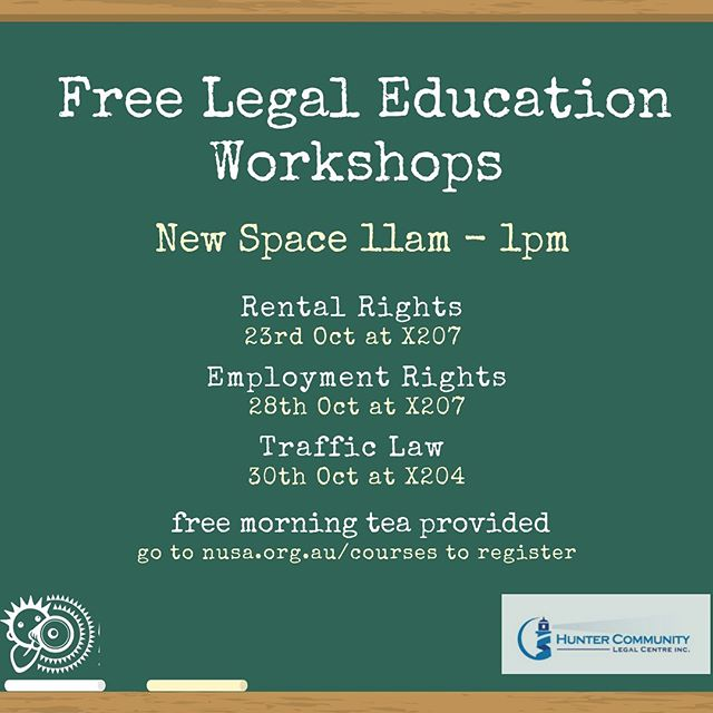Learn your rights and book into a free legal workshop hosted by Hunter Community Legal Centre. Find out more at nusa.org.au/courses