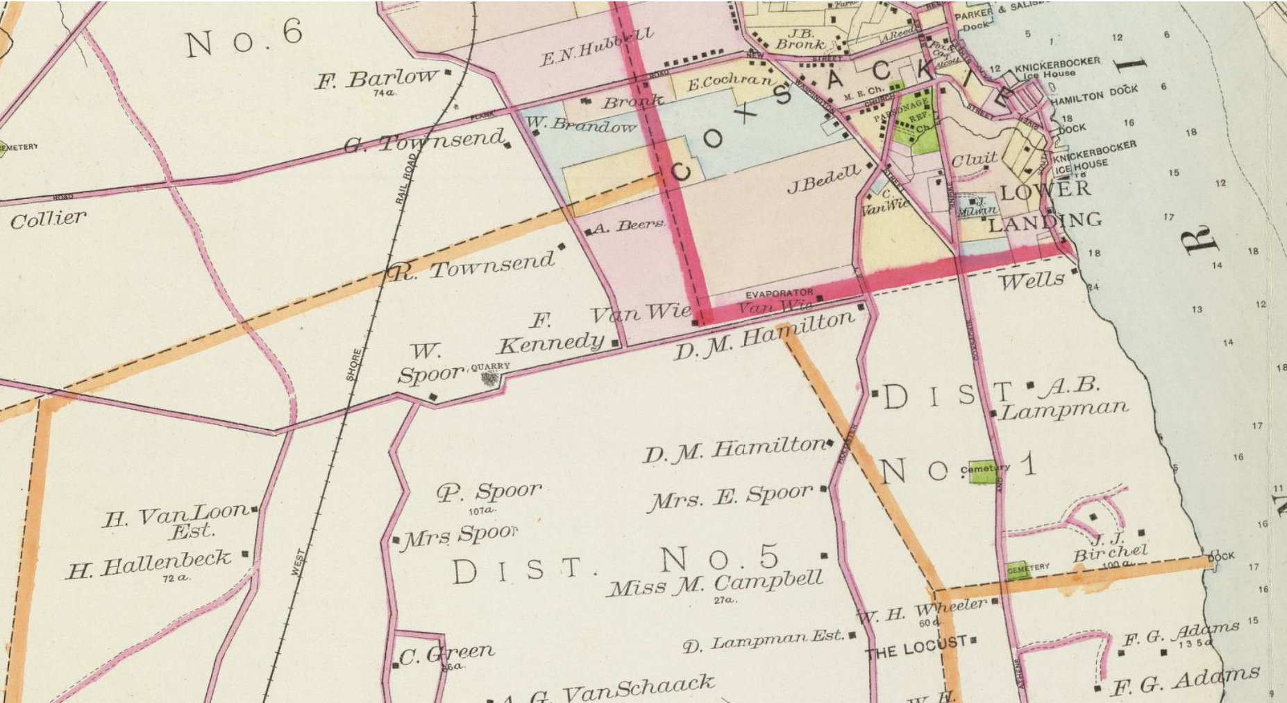 detail of Greene County in 1891 - courtesy of  David Rumsey Map Collection