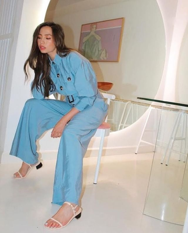 Jumpsuit perfection •• the gorgeous @martine wears the 'No Lies Jumpsuit' in slate blue⁠