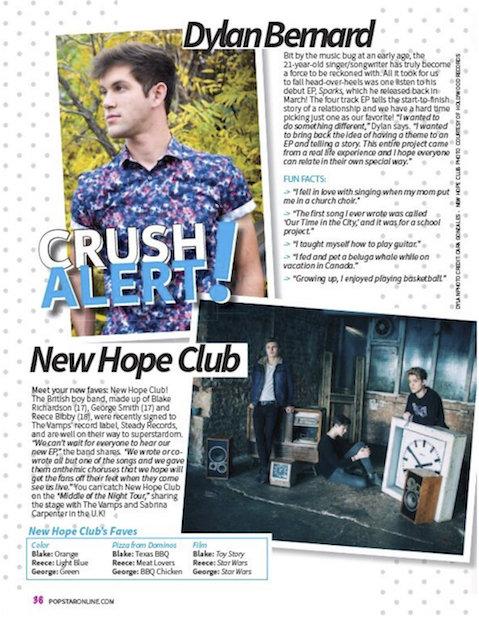Crush Alert! Popstar! Magazine Print Feature.