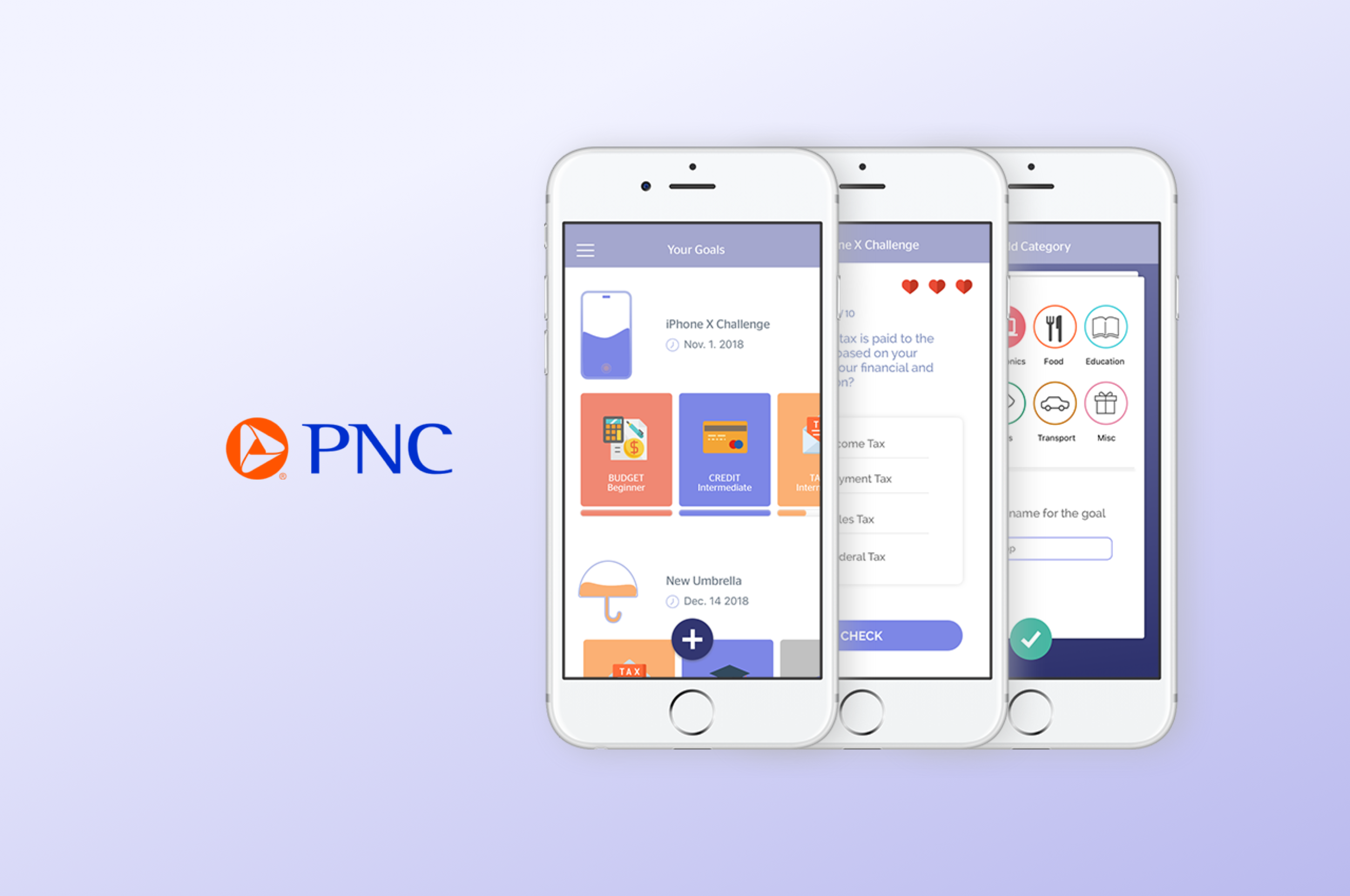 Learn with PNC — Financial Education app   UX/UI, prototyping, research, visual design