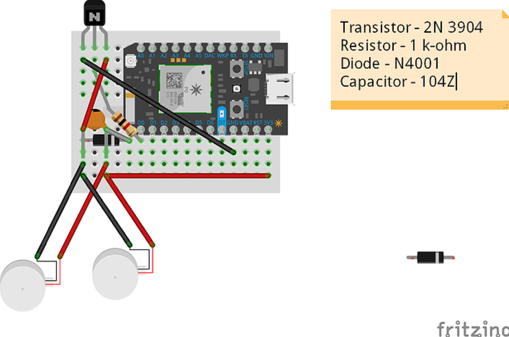 components include per hand: particle photon, resistor, diode, capacitor, transistor, haptic motors (three), and wiring.