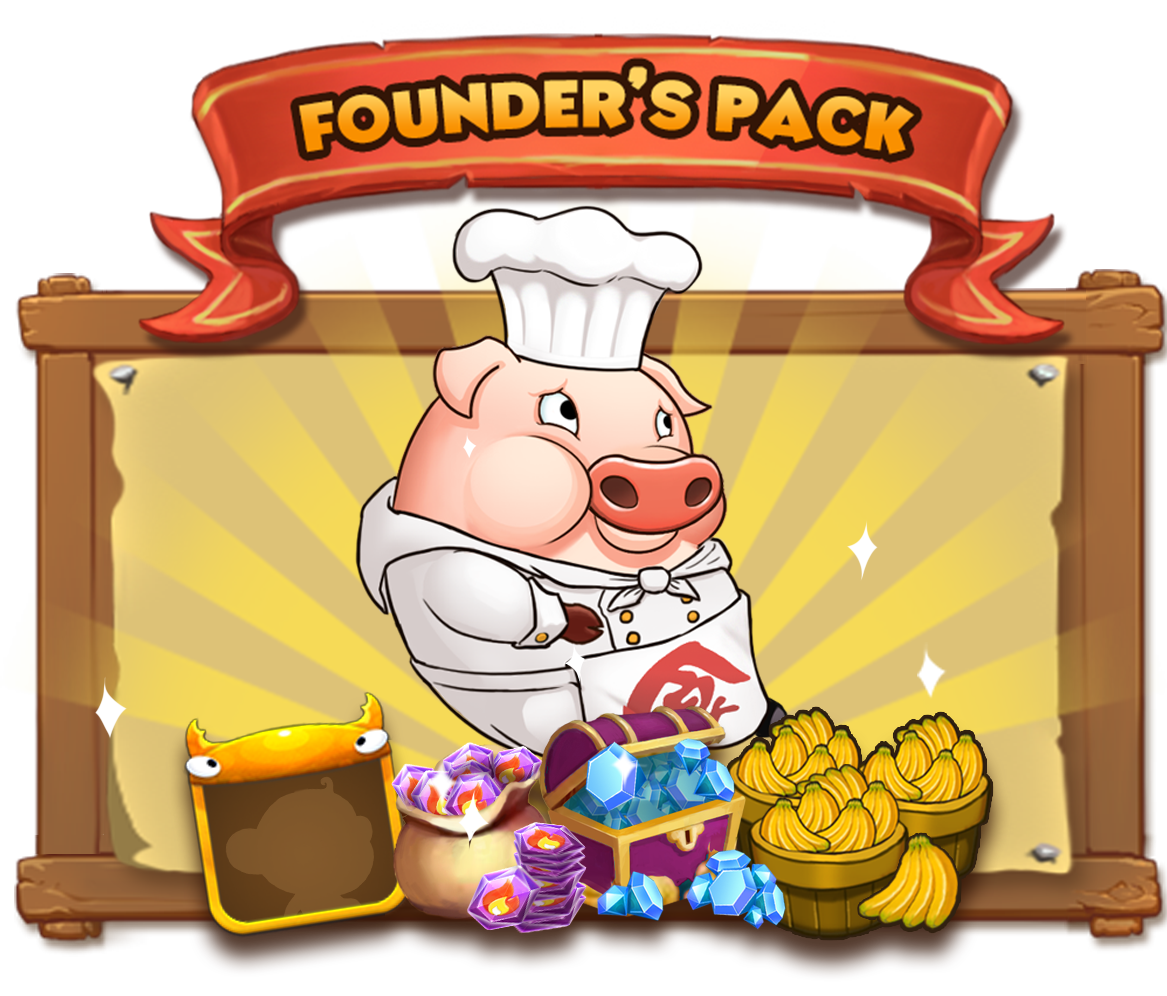 """The Founders Pack includes: - 1 x Muncher: """"Just a banana pig with banana dreams."""" Muncher is a great addition to your team as an offensive and healing character.1 x Founder's Frame for your avatar with animal ears =^_^=100 x Diamonds: Used to buy chests to get new animals for your team200 x Fire Stones: Used to buy Super or Legendary Chests1000 x Bananas: Used to upgrade your team :)This is a one time offer for our pre-registered and beta players."""