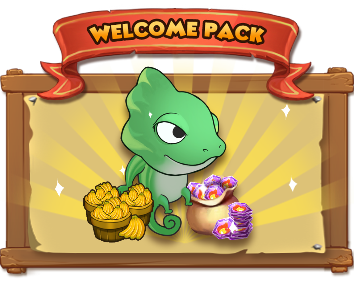 The Welcome Pack includes: - - 1 x The Chameleon: There are two types of Chameleon in the Critterverse! Shape Shift Chameleon can transform into any other non-hero animal and use their attacks. Sharp Tongue Chameleon attacks with it's tongue, sometimes hitting a target's weakness. Truly Deadly! When attacking an animal, this Chameleon has a 50% chance of dealing three times the damage.*Chameleons are special Critters only playable within a certain time period. They will disappear from your team and go back into the jungle after the event ends.- 100 x Fire Stones: Used to buy Super or Legendary Chests- 3000 Bananas! Used to upgrade animals!