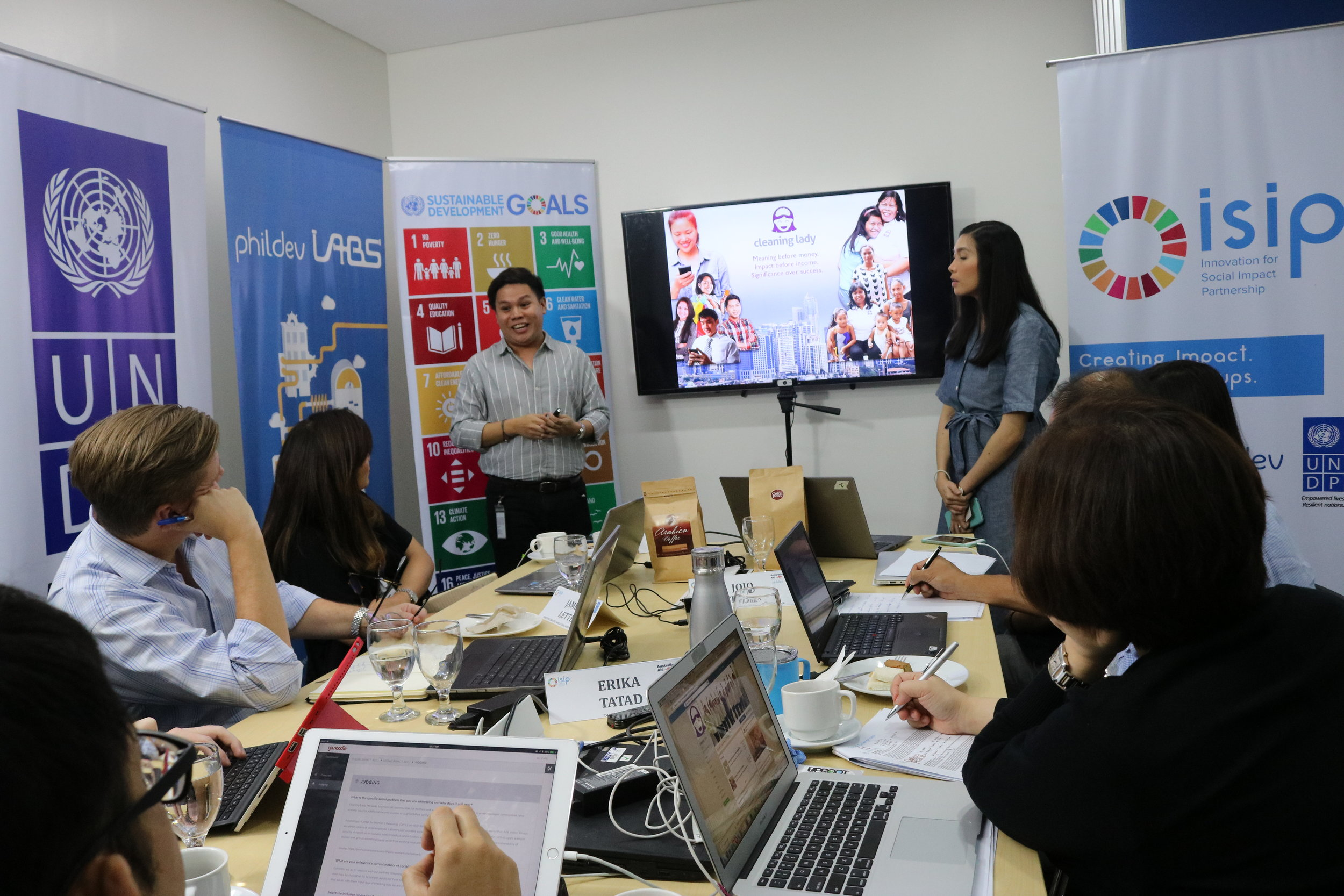 Oskie King and Frances Feliciano, Founders of Cleaning Lady, during the ISIP Social Impact Accelerator Pitching Round