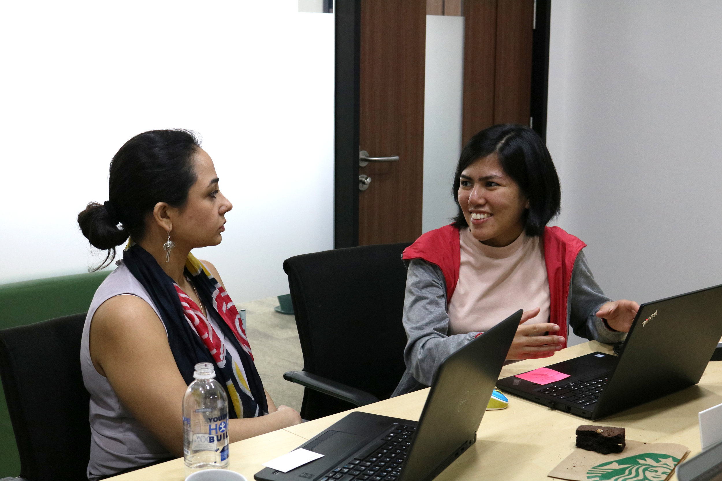 Carla Manalo, one of the founders of Hiraya Water, during the Impact Management Session at the Social Impact Accelerator with Rabayl Mirza of BcTA