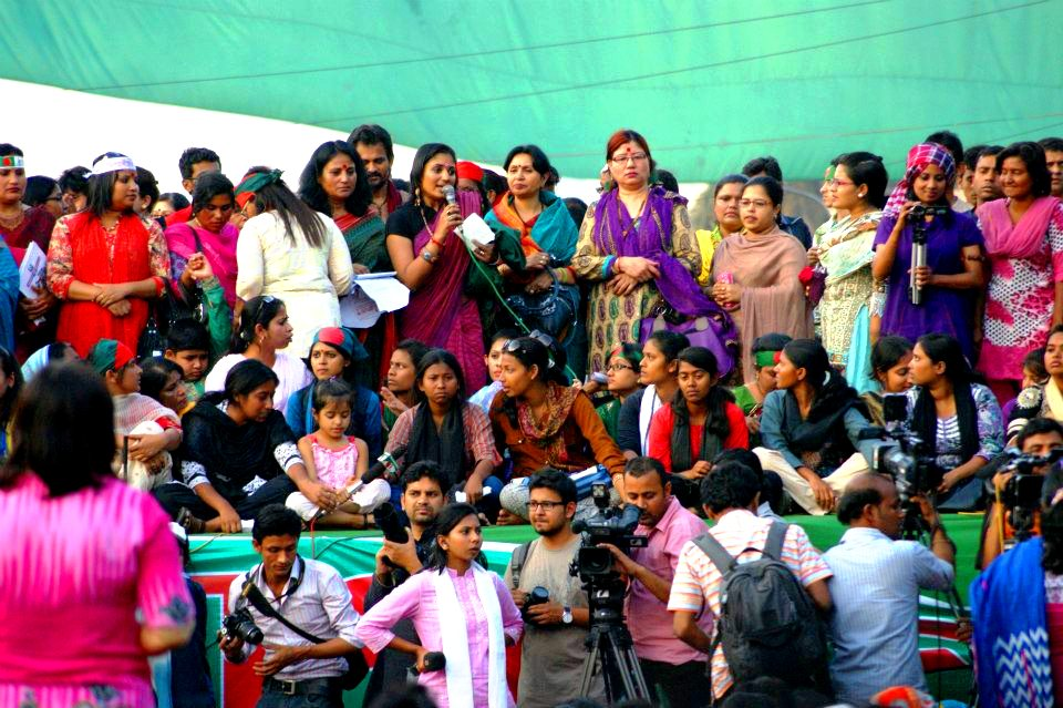 Addressing the crowd on International Women's Day right after two bomb blasts by extremists around the stage. Narijagoroni shomabesh, Shahbag, Dhaka, 8th March 2013. Courtesy Nilufar Rahman.