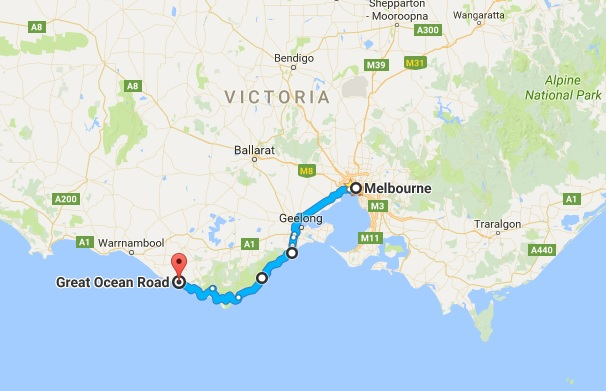 Map from Melbourne to Great Ocean Road