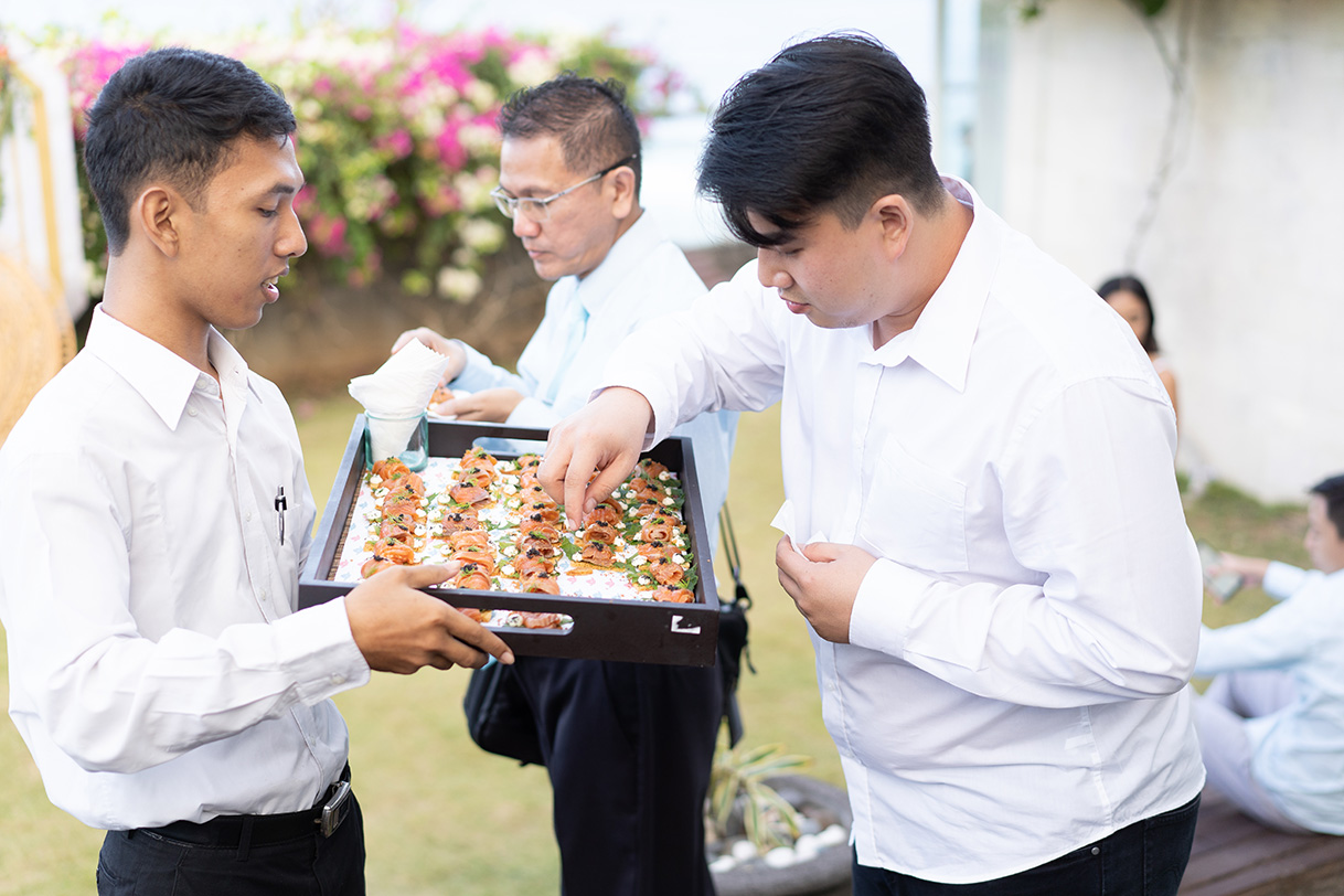 staff ready to serve you - sushi catering in bali