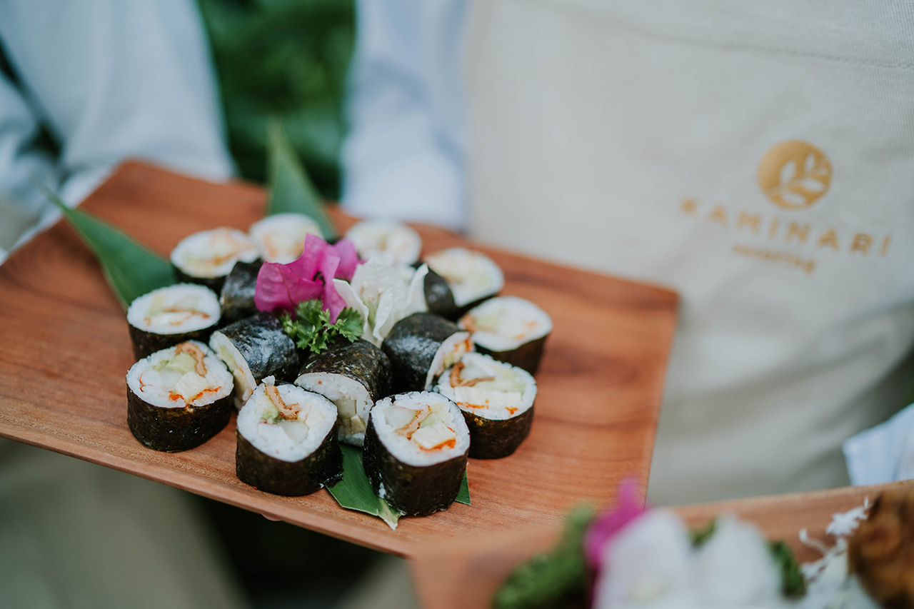 tasteful sushi roll served with love by japanese food catering in bali