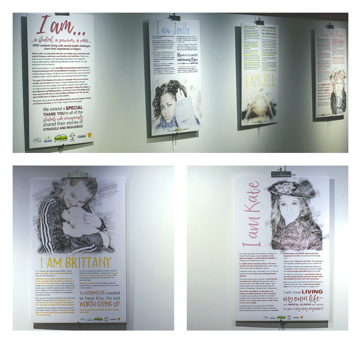 """Artwork for the exhibit """"I am a Student, a Survivor, a Voice: WMU Students Living with Mental Health Challenges Share Their Experiences of Stigma."""""""