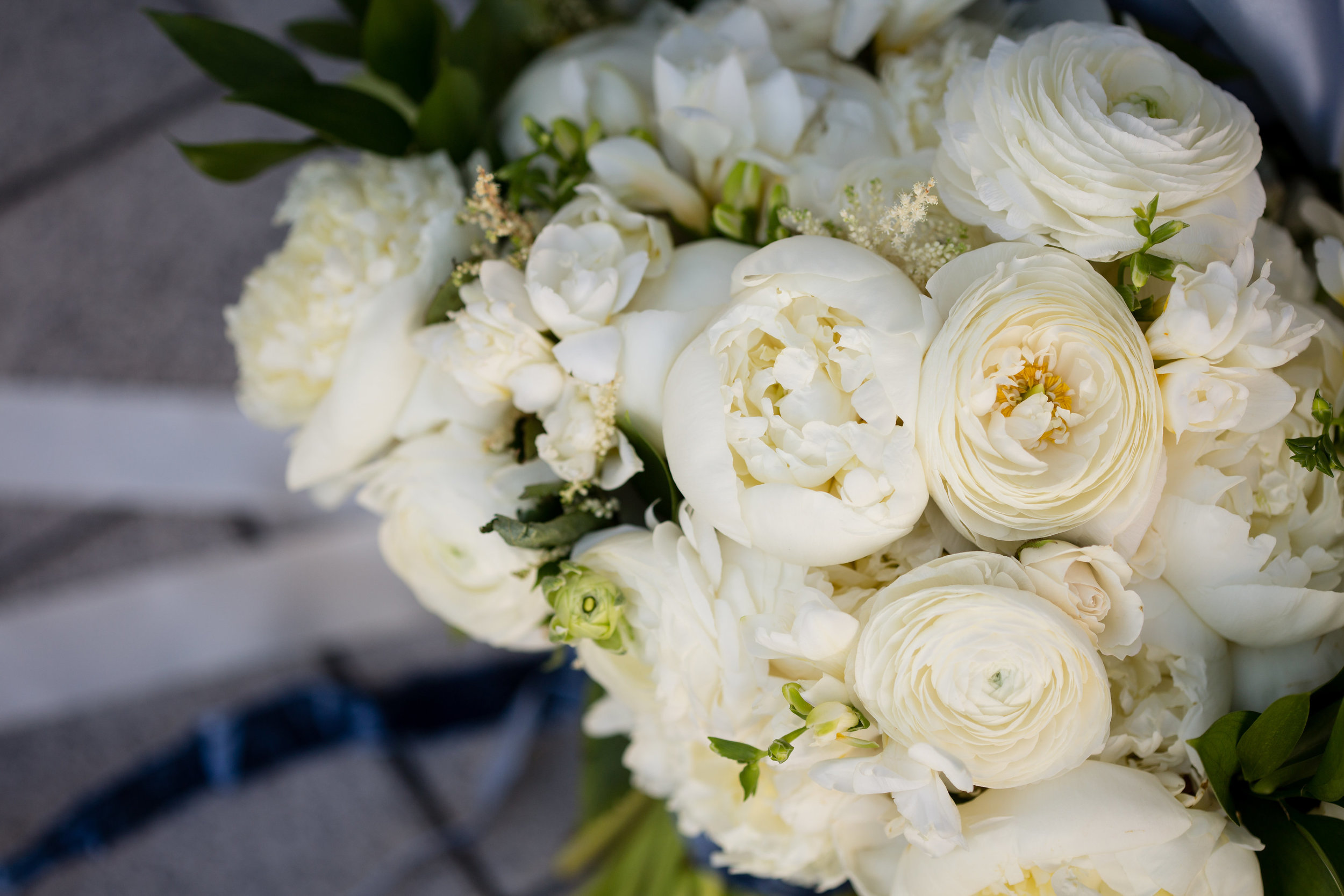 Wedding Bouquet with Peonies, Ranunculus, Freesia, and Astilbe