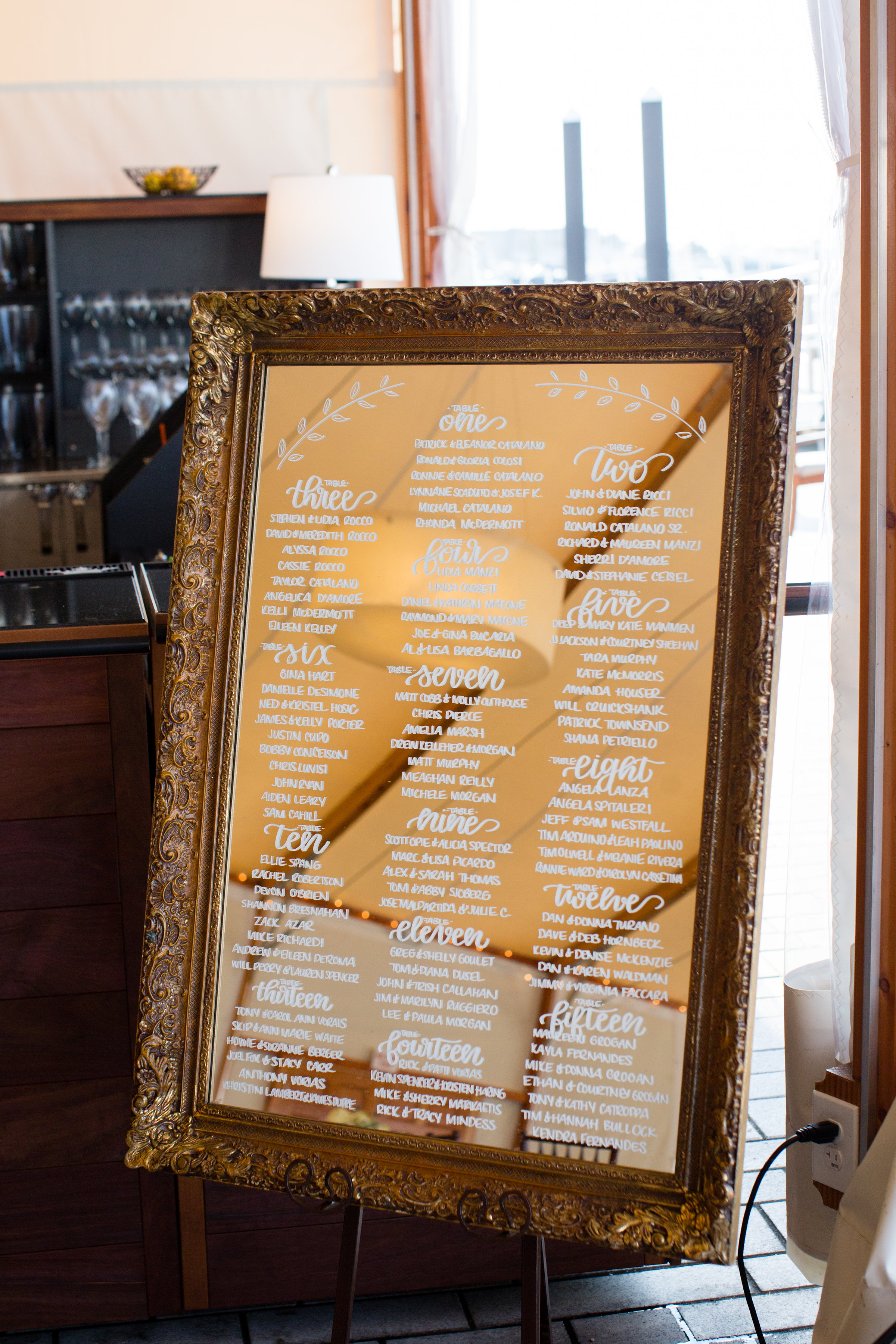 Framed Gold Seating Chart at Wedding