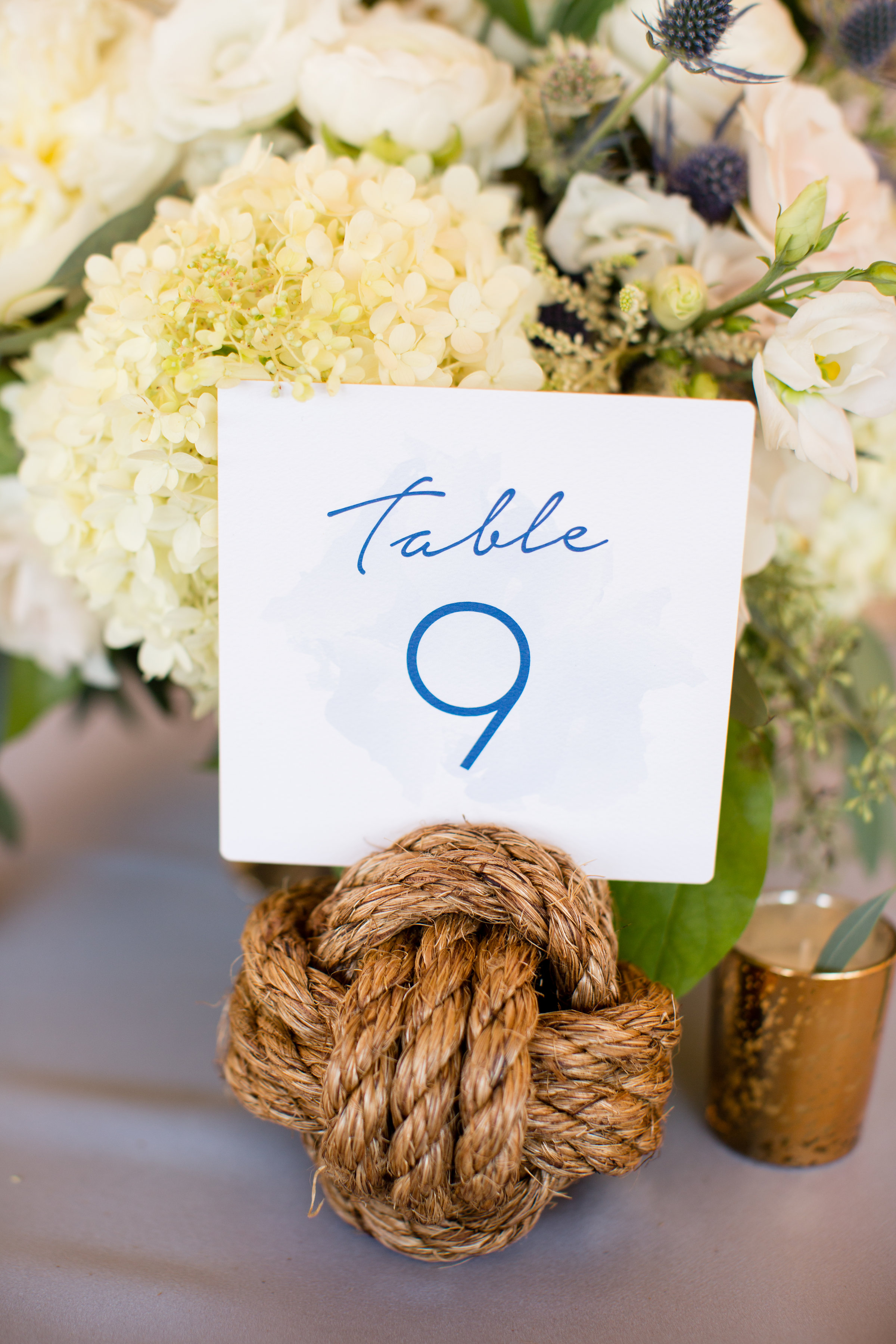 Nautical Rope Table Numbers at Wedding