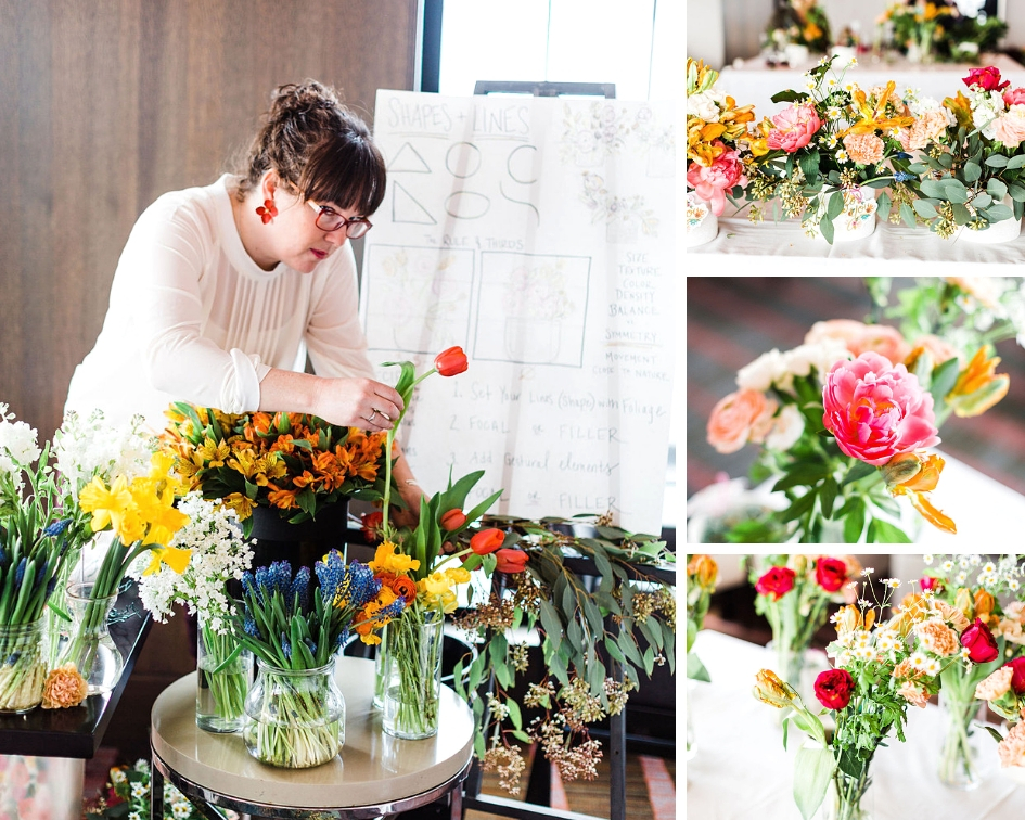 flowers - Lindsay did such a great job guiding our (60) guests on how to arrange fresh flowers. At each place setting there was a ceramic container with floral wire, a Rifle thank you tag, and a vase full of flowers to pull from for their arrangement!