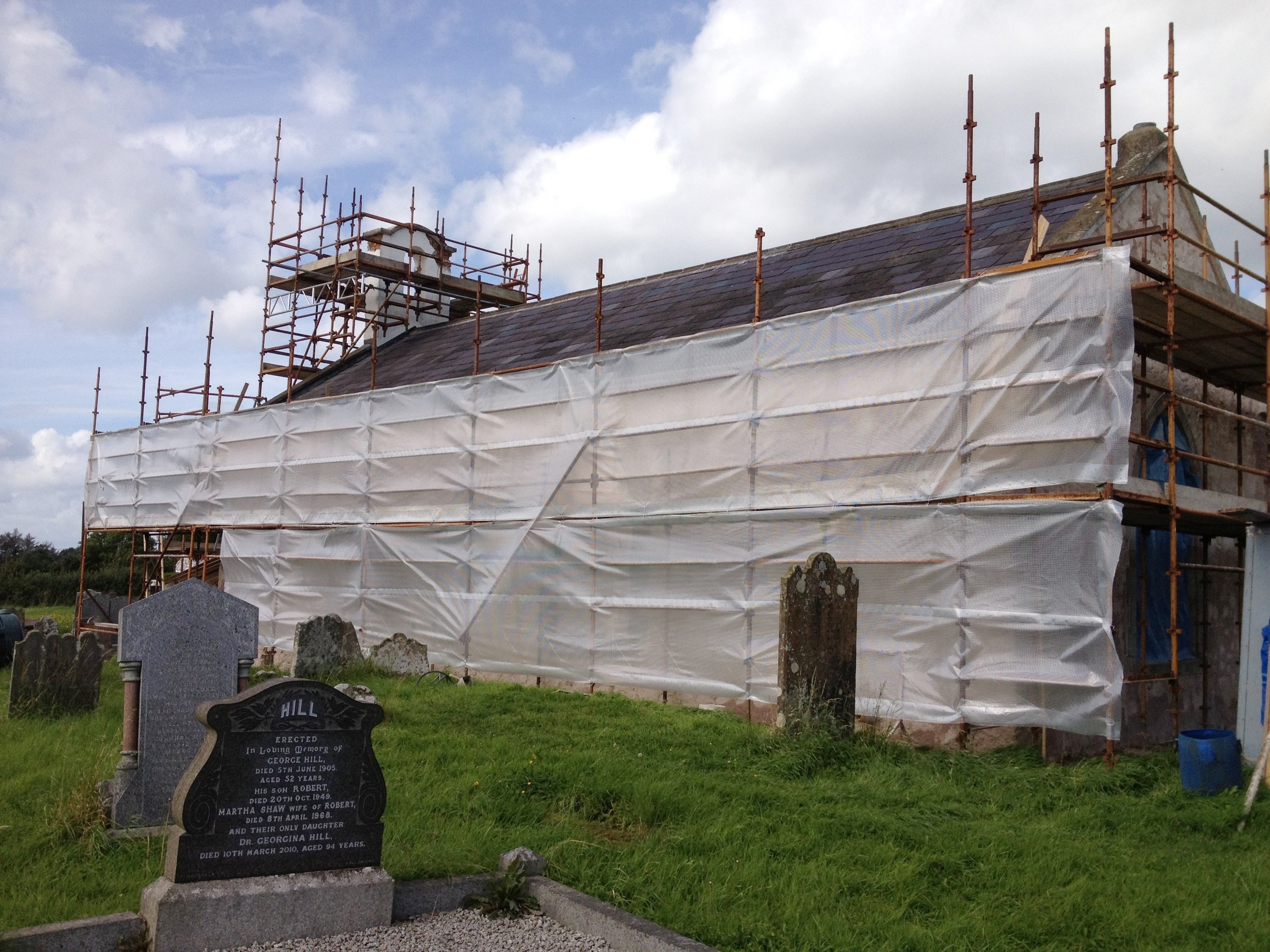 Scaffold protection for new lime work