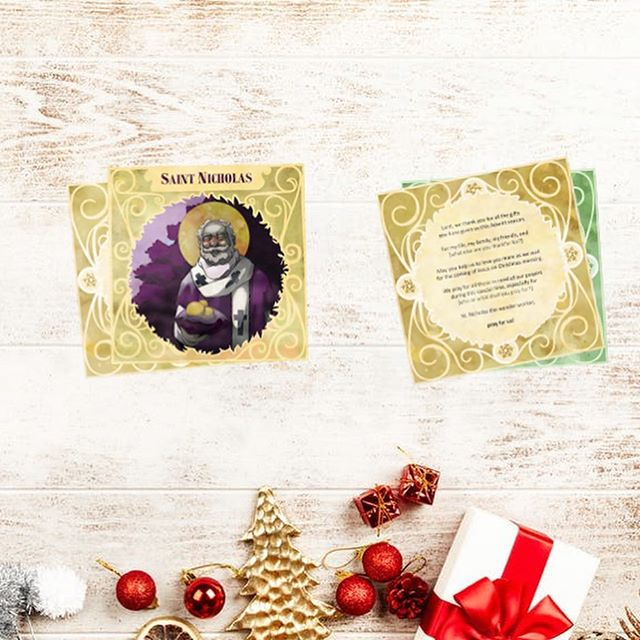 "These St. Nicholas children's prayer cards are now in the shop! Perfect for playful hands, and a great way to pray with your little ones throughout the Advent season! Use code ""ALLSAINTS20"" to get 20% off the entire shop until Sunday. 😇"