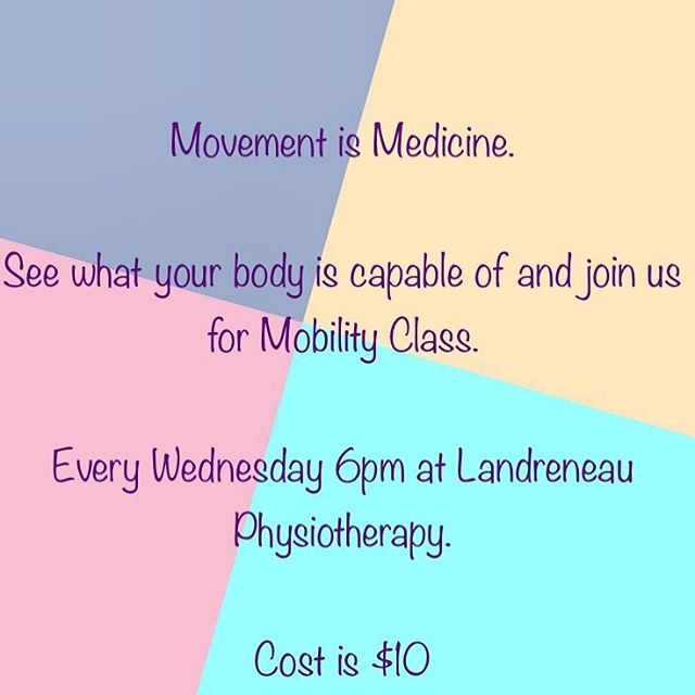 Let us know if you plan on attending a class!  #landreneauphysio #physiotherapy #physicaltherapy #movement #getmoving #mobility #injuryprevention #moveitorloseit #youngsvillela #lafayette