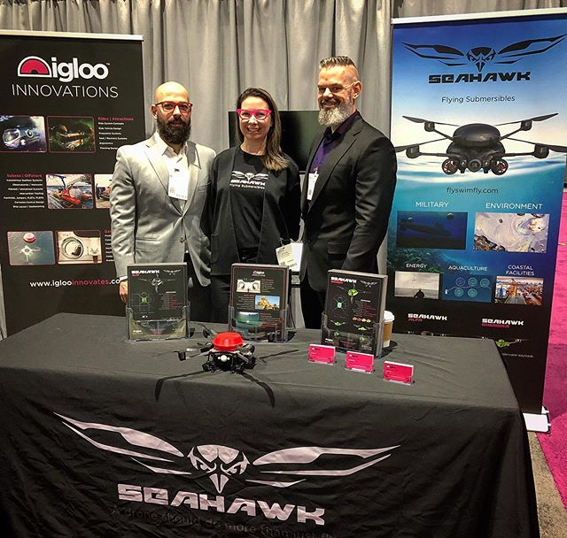 Igloo Team in style at Oceanology International Americas in San Diego. Come say hello and talk about our flying submersibles. #seahawk #flyswimfly #oceanologyinternational #flyingsubmersible #flyingrov #rov #drone #dronestagram