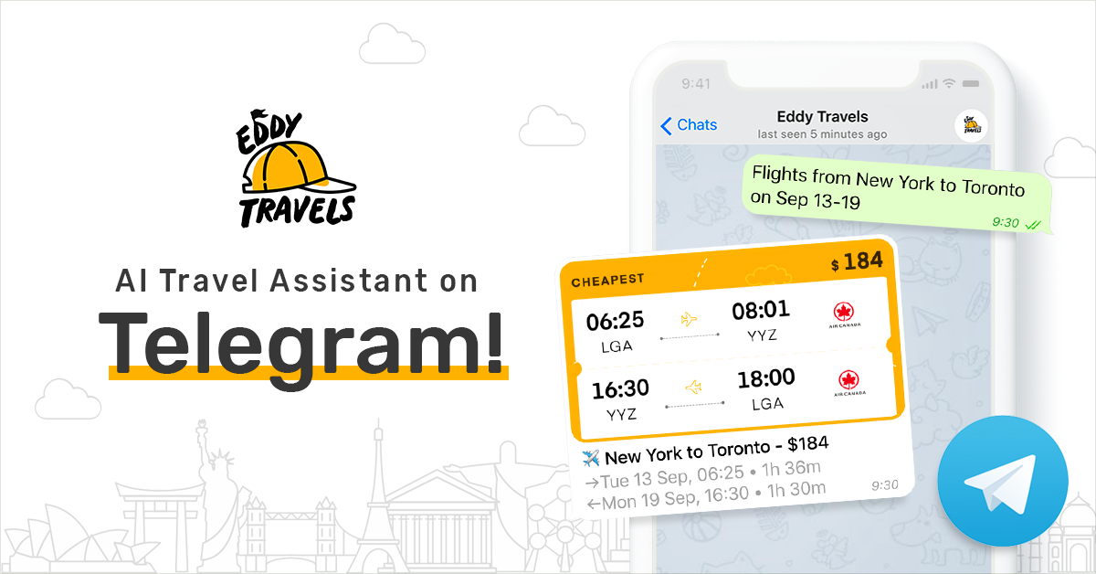 Eddy Travels - AI travel bot on Telegram for flights, hotels, tours, car rentals, and more.png