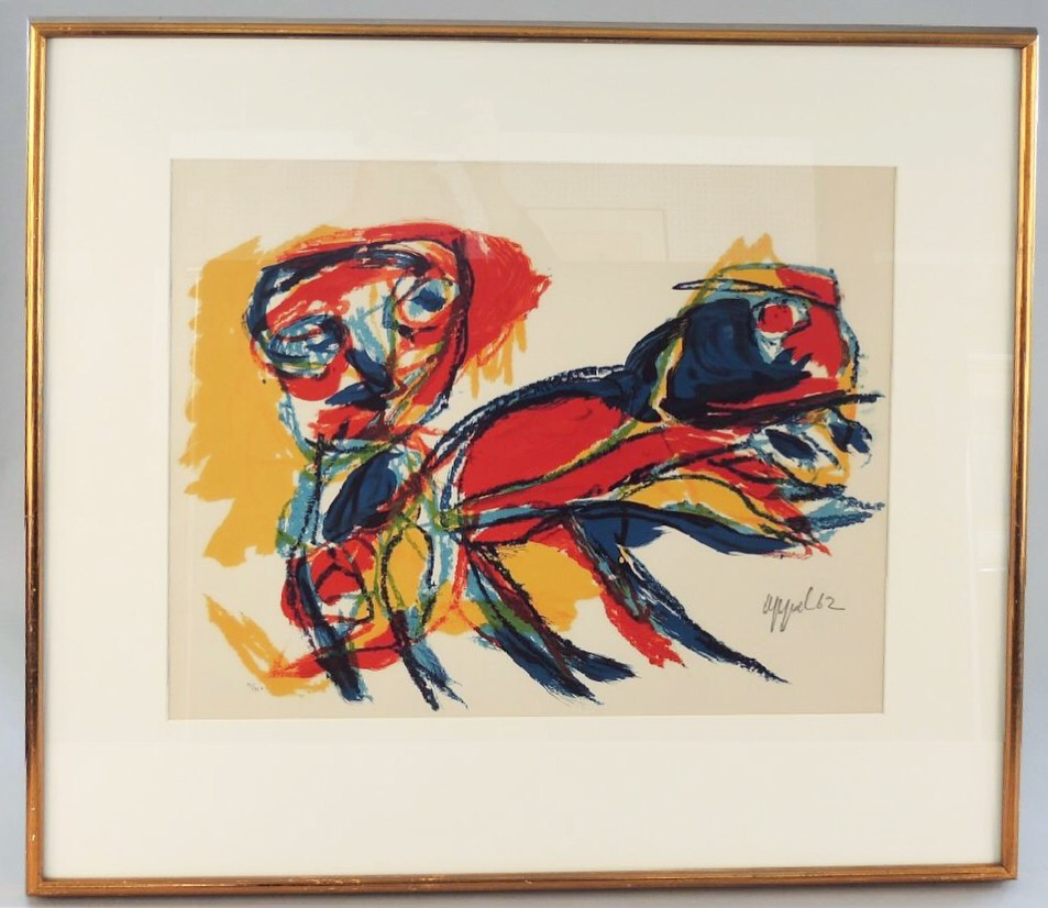 """Karel Appel(Dutch 1921-2006)'Person and animal' - LithographEdition 71/210Signed and dated lower right196217.5""""x22""""(frame size 28""""x32"""")$900SOLD"""