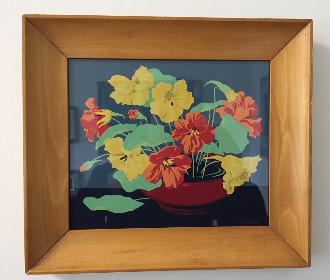 """A.J. Casson(1898-1992)'Nasturtiums in Red Bowl' - Silkscreen8"""" x 10""""$225.00SOLD"""